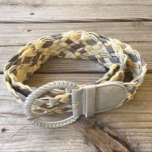 Braided faux leather belt